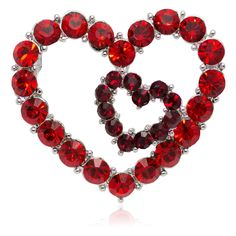 Swarovski Element Crystals Valentine Heart in Heart Pin Brooch - Red - CC120A9J4I5 - Brooches & Pins  #jewellrix #Brooches #Pins #jewelry #fashionstyle