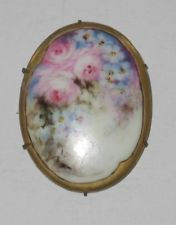 Vintage Hand Painted Porcelain Brooch Violet & pink w/Gold Edge Prong Set L@@K!
