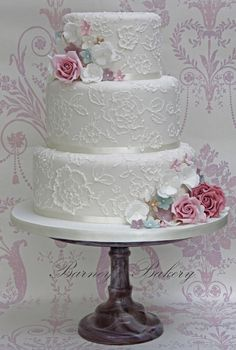 Vintage brush embroidery lace wedding cake Fewer flowers - statement blooms to match bouquet etc