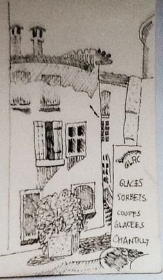 A hot day in the Ardeche. Ink drawing 1997
