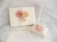 Guest Book, Wedding GuestBook and Pen Set  -  Rose Blossom Ivory  CUSTOM COLORS  too on Etsy, $45.00