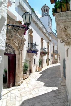 Ancient Streets Of Locorotondo, Italy.  Locorotondo is a comune (municipality) in the Province of Bari, Puglia Region.  Locorotondo is listed as one of most beautiful hamlets in Italy.