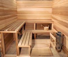 Wood Sauna - tiered seating allows for better heat distribution