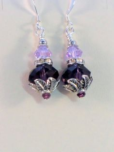 SALE Amethyst and violet swarovski crystal leaf by wilywolverine