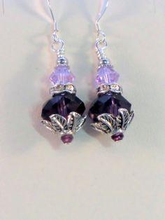 SALE Amethyst and violet swarovski crystal leaf by wilywolverine