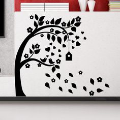 Wall Decal Tree Bird Heart Leaves House Nursery Room Hall Vinyl Sticker MR727 #Stickalz
