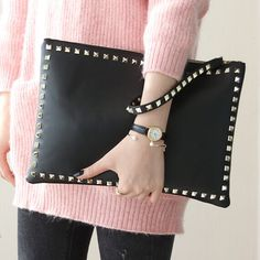 Rivet envelope bag fashion star style Ladies clutch purses Women's handbag Clutches evening bags Black and red bolsa feminina