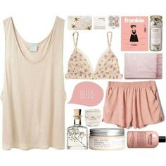 Pajamas | Tan tank top, Pink shorts
