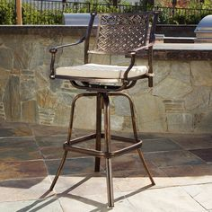 The Sebastian bar stool is made out of powder-coated cast aluminum, allowing it to withstand outdoor weather while still looking as perfect as the day it arrived.