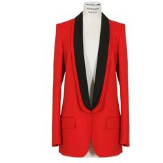 Stella Mccartney Red And Black Three Collars Jacket ($1,710) ❤ liked on Polyvore