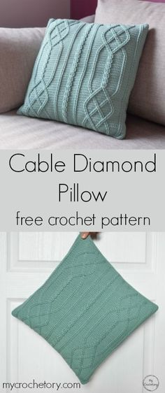 Crochet cables are used to attain this stunning intertwined design and the sample of Cable Diamond Pillow is giving a contemporary twist to this conventional cable texture. It turned out so beautiful and up Crochet Pillow Patterns Free, Crochet Flower Patterns, Crochet Designs, Free Crochet, Afghan Patterns, Irish Crochet, Knitting Patterns, Modern Crochet Patterns, Pattern Flower