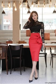 Top Skirt Set 2018 Spring Office Business Work Wear Black Lace Perspective Long Sleeve Blouse And Bow Red Pencil Bodycon Skirt Mode Outfits, Office Outfits, Skirt Outfits, Dress Skirt, Skirt Set, Fashion Outfits, Look Fashion, Korean Fashion, Modelos Fashion