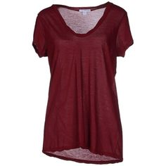James Perse Standard T-shirt ($79) ❤ liked on Polyvore featuring tops, t-shirts, shirts, maroon, pocket t shirts, maroon t shirt, short sleeve tees, short sleeve v neck tee and v neck pocket tee