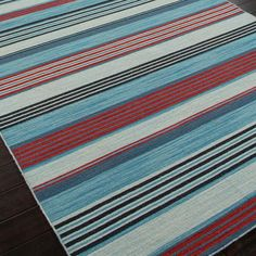 3 Color Coastal Stripes Dhurrie Rugs: 3 choices for boys rooms and playrooms?