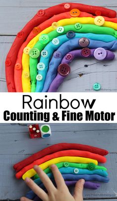 Rainbow Playdough Counting and Fine Motor Activity Source by powermothering Rainbow Activities, Motor Activities, Sensory Activities, Craft Activities For Kids, Rainbow Playdough, Top Toys For Boys, Sensory Bins, Sensory Play, Kids Learning