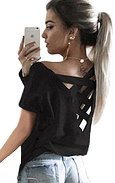[Yoga Tops Fitness Tank] Women's Summer Sexy Criss Cross Open Backless Yoga Top Tee Short Sleeve T Shirt Casual Sport Blouse Tops (M, Black) ** Visit the image link more details. (This is an affiliate link) Loose Shirts, Cut Shirts, Cut Up T Shirt, Yoga Tops, Sporty Outfits, Summer Shirts, T Shirts For Women, Clothes For Women, Shirt Blouses