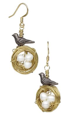 Earrings with TierraCast® Oxidized Pewter Beads, White Lotus™ Cultured Freshwater Pearls and Wirework by Jamie Smedley.