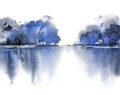 Turquoise Wall Art aquarelle paysage de montagne par NancyKnightArt