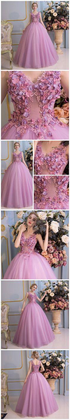 Chic A-line Prom Dress,Modest A-line V-neck Sleeveless Applique Prom Dress Formal Dress Long Evening Dress SM042