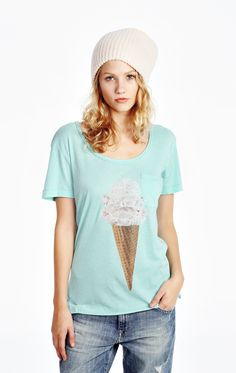 Ice cream for breakfast! This classic tee features a relaxed crewneck, front pocket, and a roomy, a-lined body in a tissue jersey knit. 50% Cotton, 50% Polyester