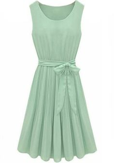 Green Plain Sleeveless Pleated Belt Wrap Chiffon Dress