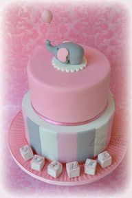 pink and gray elephant baby shower, like the blocks with the babies name on it