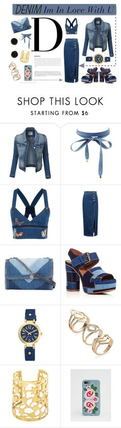 """""""Denim in Love"""" by fardaniyah ❤ liked on Polyvore featuring Charlotte Russe, Valentino, WithChic, White Label, STELLA McCARTNEY, See by Chloé, BoConcept, Nine West, Missguided and Humble Chic"""
