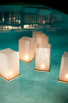 Dress up the pool with floating lanterns! Think these we only $2-3 each!