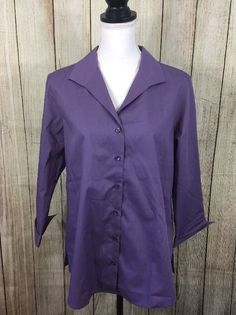 Foxcroft Appleseeds Wrinkle Free Shaped Fit Purple Blouse 3/4 Sleeves ~ Size 14P  | eBay