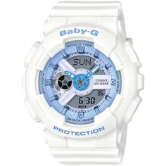 Casio Baby G Casio Baby G White Resin Strap Ladies Watch (£109) ❤ liked on Polyvore featuring jewelry, watches, alarm wrist watch, seashell jewelry, world time watches, sea shell jewellery and beach jewelry
