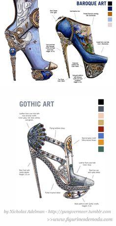 La historia del arte explicada en zapatos de tacón ! unas originales ilustraciones del ilustrador de moda >  Nicholas Adelman > http://yungvermeer.tumblr.com/tagged/shoedesign/ >> www.figurinesdemoda.com #arte #barroco #gótico #figurines #tacones