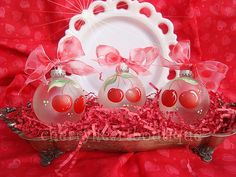 Hand Painted Cherry Christmas Ornaments by from my cherry heart, via Flickr