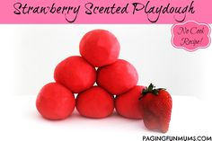 Strawberry Scented, No Cook Playdough - this smells divine and is so soft & so easy to make - NO COOKING!