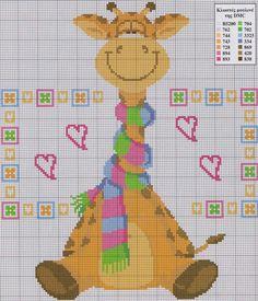 Giraffe with a scarf Cross Stitch For Kids, Cross Stitch Baby, Cross Stitch Animals, Cross Stitch Charts, Cross Stitching, Cross Stitch Embroidery, Embroidery Patterns, Funny Cross Stitch Patterns, Cross Stitch Designs