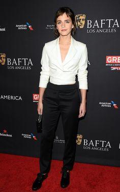 Emma Watson's monochrome suit is by Osman