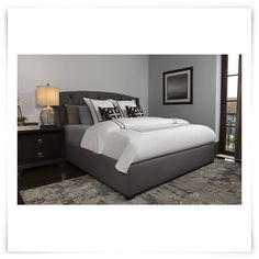 City Furniture: Jordan Dk Gray Upholstered Platform Bed
