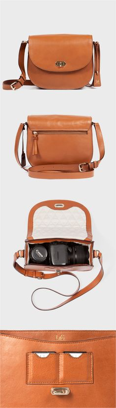"""""""The Claremont"""" womens leather camera crossbody bag. Features a padded and quilted interior compartment for carrying DSLR cameras. Designed by Lo & Sons  #loandsons"""