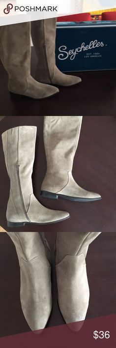 Seychelles Invite Taupe Pointed Toe Boots 9.5 Anthropologie brand Seychelles Invite Pointed Toe leather boots, size 9.5  Super soft leather suede uppers with a flexible sole and a half inch heel.  These feature partial side zips and a stretchy small goring at the top for fit and comfort.  The color is a rich taupe, better captured in the first photo than in the closeups.  These were never worn and are in new condition Perfect with a skirt or a pair of jeans! Seychelles Shoes