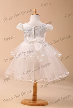 A-Line/Princess Jewel Organza Tulle Flower Girl Dress With ruffle $38.00 USD
