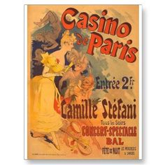 Casino de Paris - reproduction vintage poster featuring artwork of Jules Cheret. Available in several sizes, matte & glossy finish. Vintage French Posters, Vintage Advertising Posters, Poster Vintage, Vintage Travel Posters, Vintage Wall Art, Vintage Advertisements, Vintage Ads, French Vintage, French Art