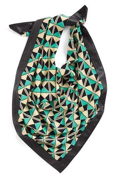 Fun Graphic Print Scarf with Faux Leather Trim!