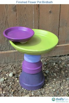 """""""I really wanted to have a bird bath in our yard, but every time I found one that I liked it was so expensive. I decided to try and make my own using stacked flower pots and saucers."""""""