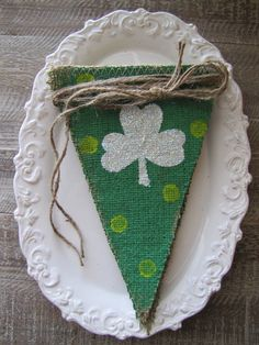 Glittered Shamrocks on Green painted Burlap Banner...St. Patricks Day via Etsy.