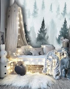 Blue Forest Watercolor Removable Wallpaper Peel and Stick Nursery Forest Wallpaper Mural Kid Room Wallpaper Pine Tree Forest Wall Mural - Bedroom inspiration