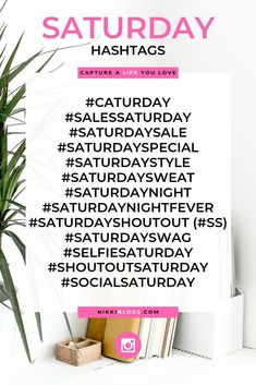Ready to blow up your blog, brand, or social media profile? Start using these amazing hashtags for Saturday to get started! Participate in these fun and creative themes for your favourite weekend day and get growing right now. Plus, click this image to find over 100 social media hashtags for all seven days of the week! Find descriptions and definitions and learn exactly how to use them to grow your Instagram, Facebook, or Twitter account every day of the week!