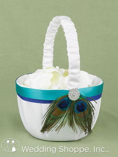 Peacock Feather Flower Girl Basket - Peacock Theme - only the best for your wedding Peacock Flower Girl, Peacock Dress, Peacock Theme, Peacock Wedding, Wedding Flowers, Flower Girl Dresses, Flower Girls, Peacock Colors, Unique Wedding Favors