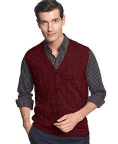 Geoffrey Beene Vest, Cable Sweater-Vest - Mens Sweaters - Macy's