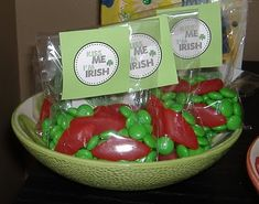 """Social Studies/History: """"Kiss Me, I'm Irish"""" treats - Teach students how this phrase began as well as """"luck of the Irish"""" (option: give them a bag of Lucky Charms cereal instead of candy). - locate Ireland on the map, etc."""
