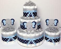 CONJUNTO de nivel 3-3 y torta de pañales 2 Mini azul marino y gris elefante, elefante Baby Shower, centro de mesa chico, gris, Marina de guerra, lunares, decoración
