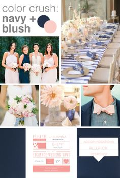 navy + blush. Invitations by Dawn suggests navy and blush for unique wedding colors.